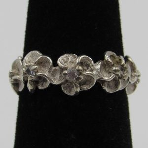 Size 3.25 Sterling Silver Rustic Floral CZ Band